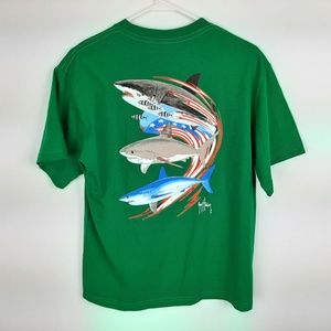 Guy Harvey Boys T-shirt Size Large Green SE21